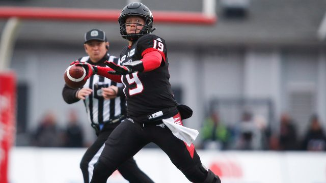 CFL-football-Stampeders-Bo-Levi-Mitchell-throws-against-Blue-Bombers