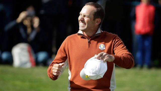 Golf-PGA-Garcia-celebrates-after-hitting-shot
