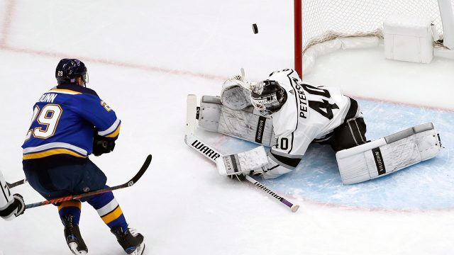 LA-Kings-Blues-Calvin-Petersen-First-Shutout