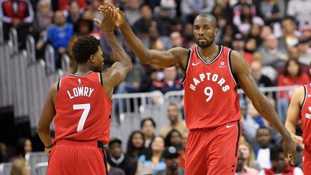 NBA-Raptors-Lowry-celebrates-bucket-with-Ibaka