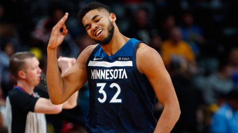 NBA-Timberwolves-Towns-celebrates-scoring