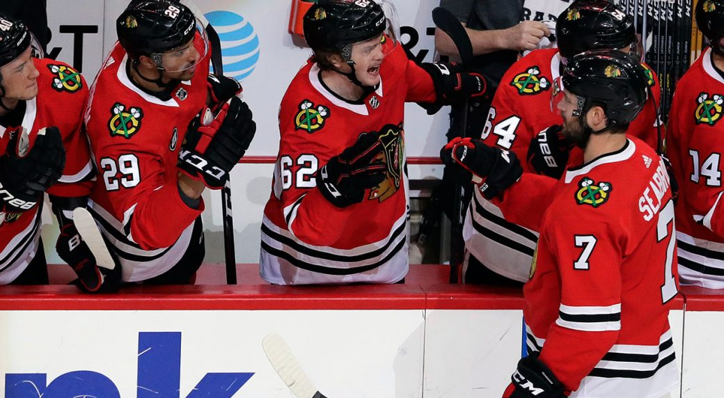 NHL-Blackhawks-Seabrook-celebrates-goal-against-Blues