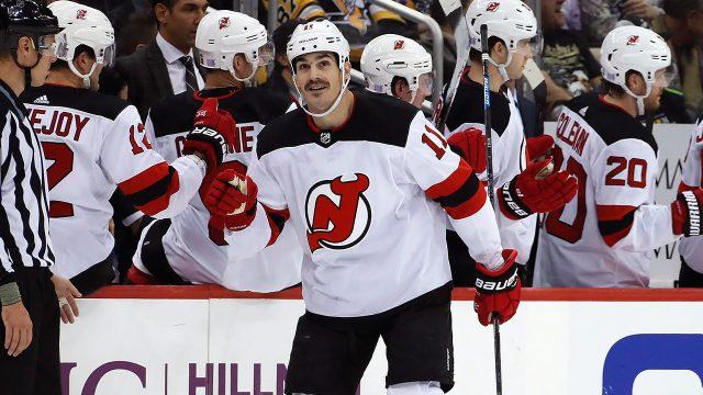 NHL-Devils-Boyle-celebrates-hat-trick