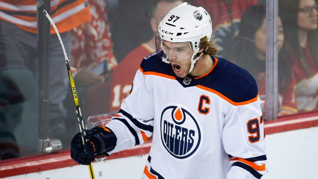 NHL-Oilers-McDavid-celebrates-goal-against-Flames