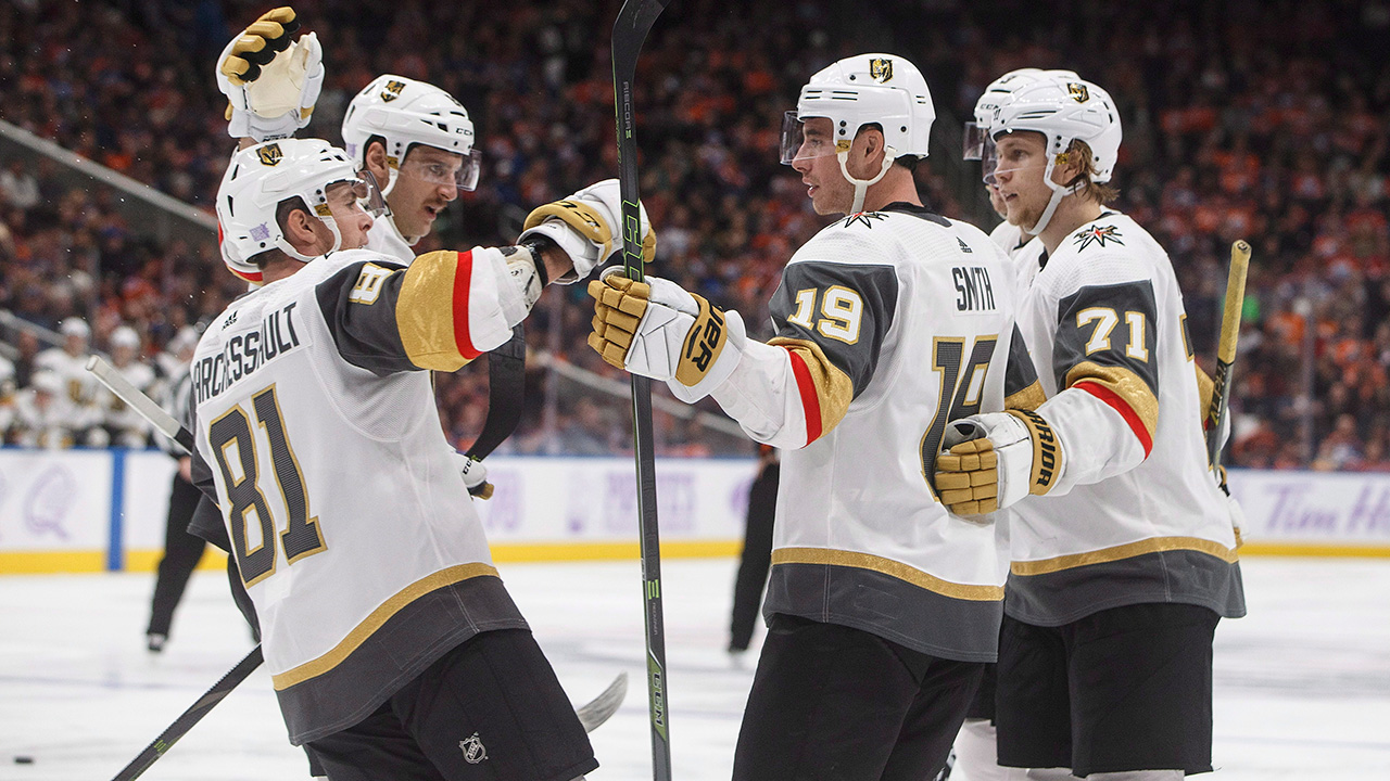 NHL-Vegas-Golden-Knights-celebrate-goal-against-Oilers