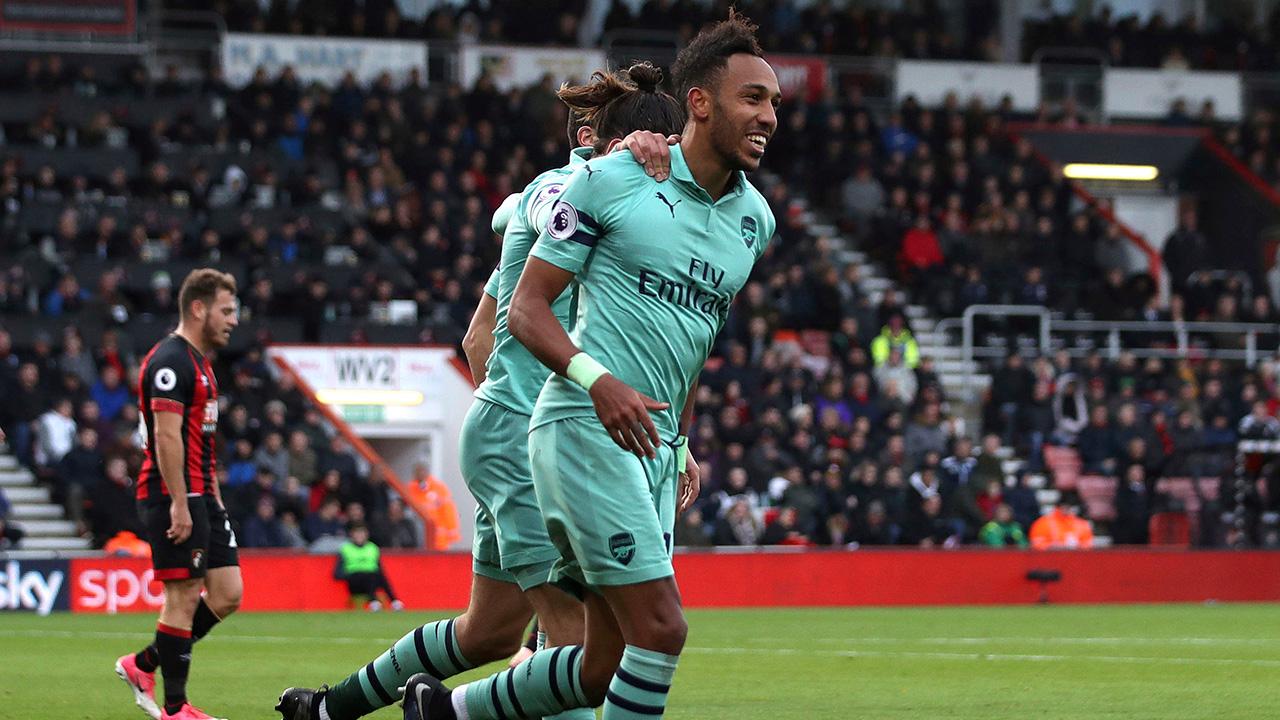 Soccer-Premier-League-Arsenal-Aubameyang-celebrates-goal