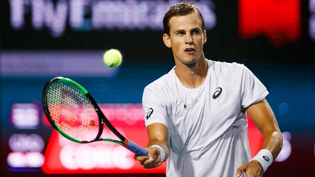 Tennis-ATP-Pospisil-returns-shot-during-Davis-Cup