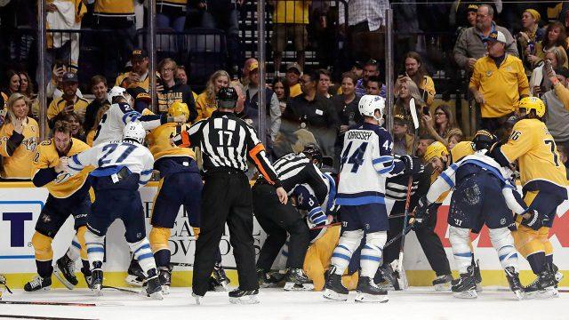 nashville-predators-winnipeg-jets-brawl-at-bridgestone-arena