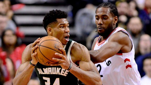 NBA-Bucks-Antetokounmpo-posts-up-against-Raptors-Leonard