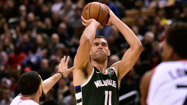 NBA-Bucks-Lopez-shoots-three-against-Raptors