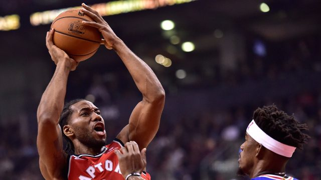 NBA-Raptors-Leonard-shoots-over-76ers-Butler