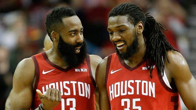 NBA-Rockets-Harden-talks-to-Faried