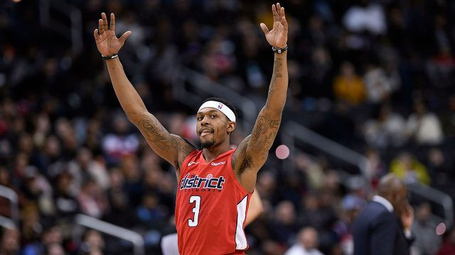 NBA-Wizards-Beal-celebrates-made-shot-against-Pacers