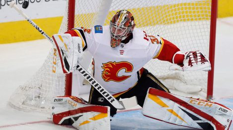 NHL-Flames-Rittich-stops-shot-against-Star