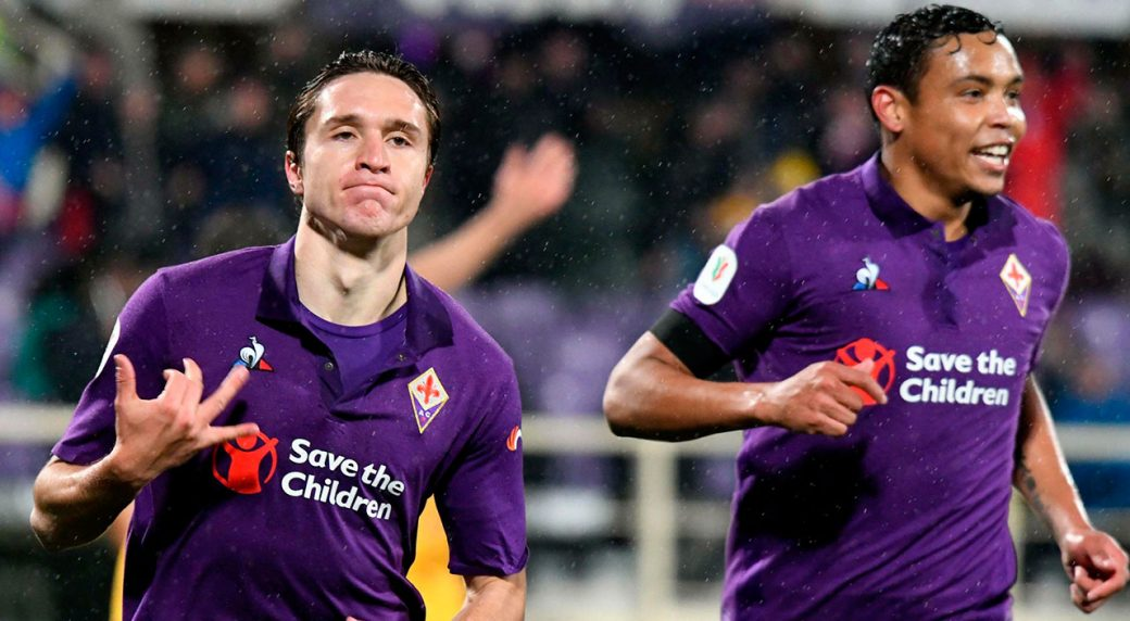 e68b26315541cc Fiorentina's Federico Chiesa, left, celebrates with his teammate Luis  Muriel after scoring during the Italian Cup quarterfinal soccer match  between ...
