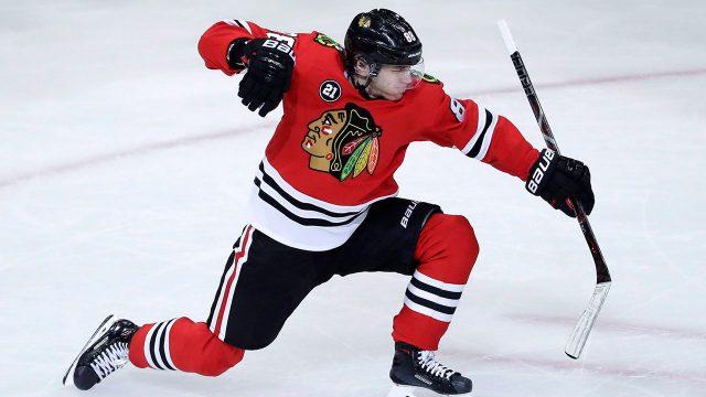 NHL-Blackhawks-Kane-celebrates-goal-against-Red-Wings