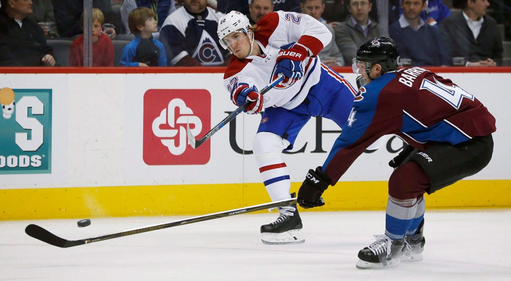 NHL-Canadiens-Weise-shoots-against-Avalanche