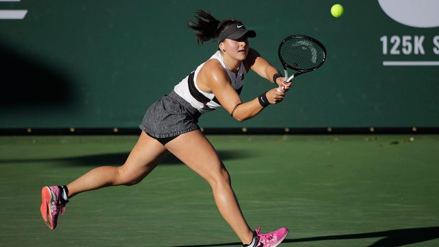 Tennis-Andreescu-returns-shot-at-Fed-Cup