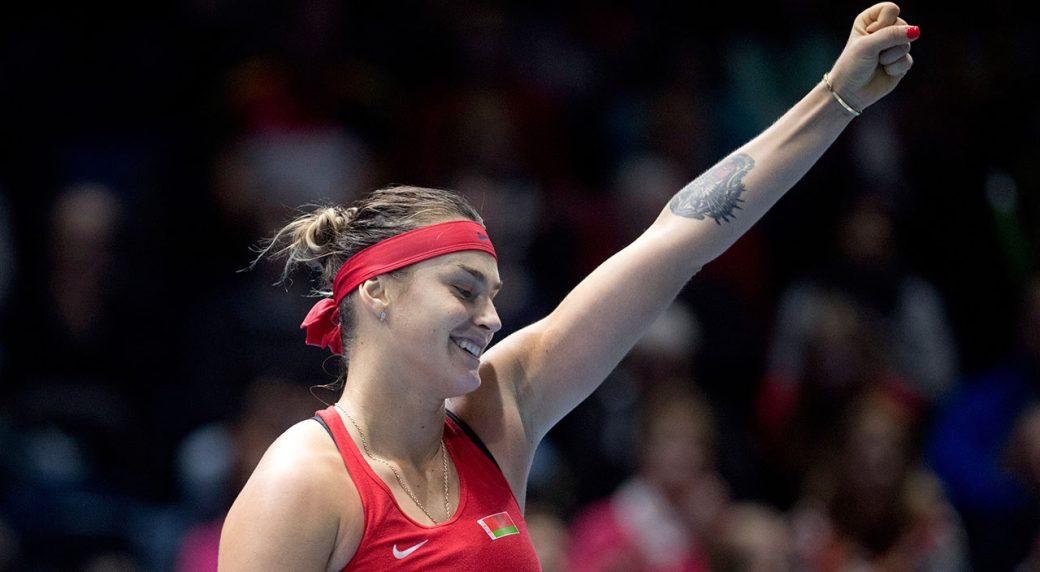 Tennis-WTA-Sabalenka-reacts-during-Fed-Cup-match