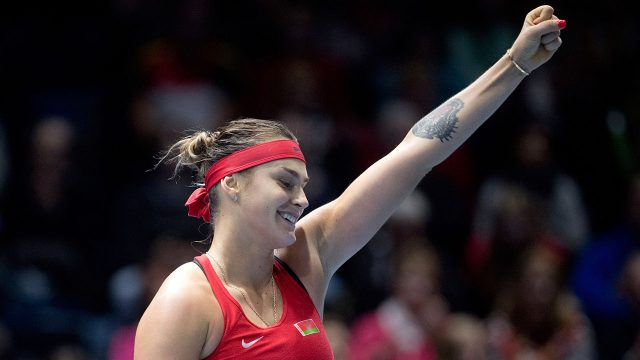 Tennis-WTA-Sabalenka-reacts-during-Fed-Cup-match