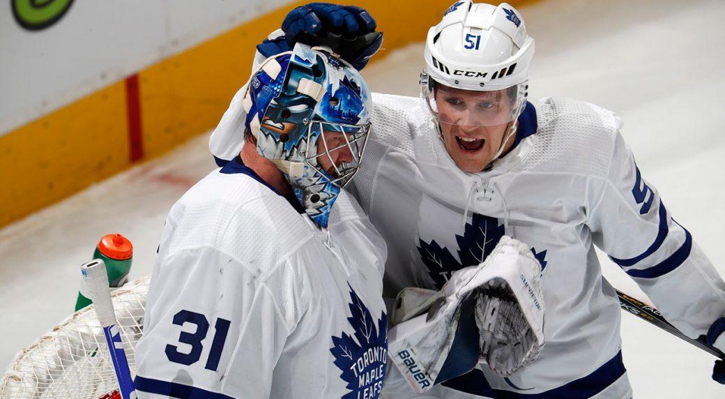 a27b57c4 Toronto Maple Leafs defenseman Jake Gardiner, right, congratulates  goaltender Frederik Andersen after an NHL hockey game against the Colorado  Avalanche.