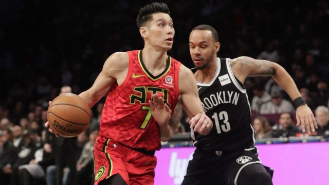Atlanta-Hawks'-Jeremy-Lin-(7)-drives-past-Brooklyn-Nets'-Shabazz-Napier-(13)-during-the-first-half-of-an-NBA-basketball-game-Wednesday,-Jan.-9,-2019,-in-New-York.-(AP-Photo/Frank-Franklin-II)