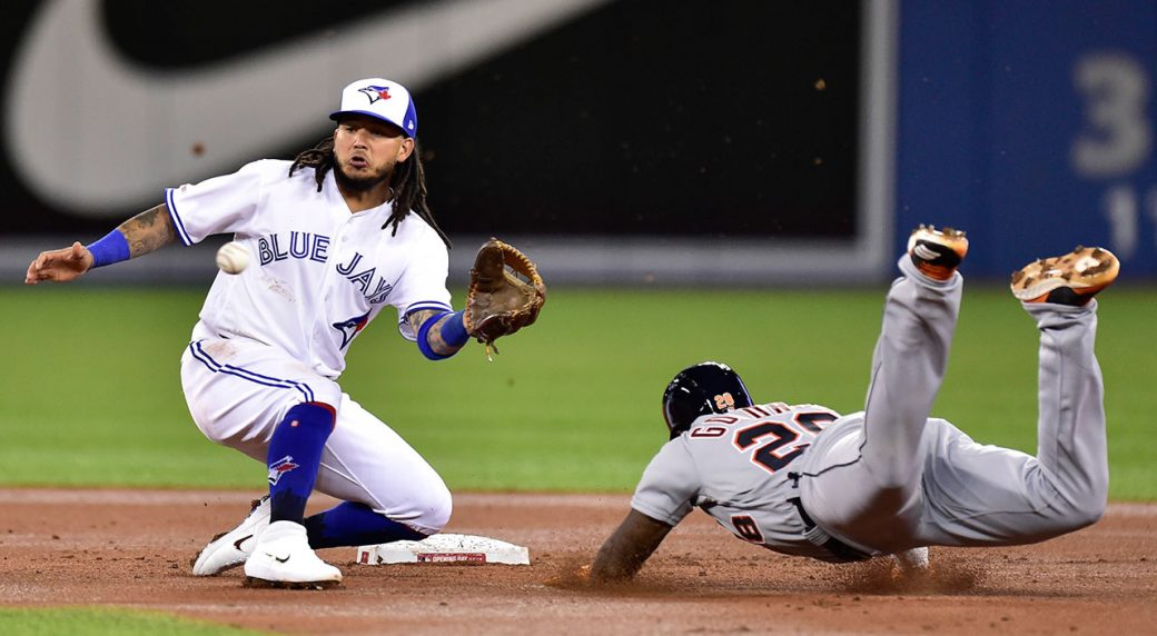 33dbd6de1893 Toronto Blue Jays shortstop Freddy Galvis (16) waits for the throw before  tagging out Detroit Tigers DH Niko Goodrum on a steal. (Frank Gunn/CP)