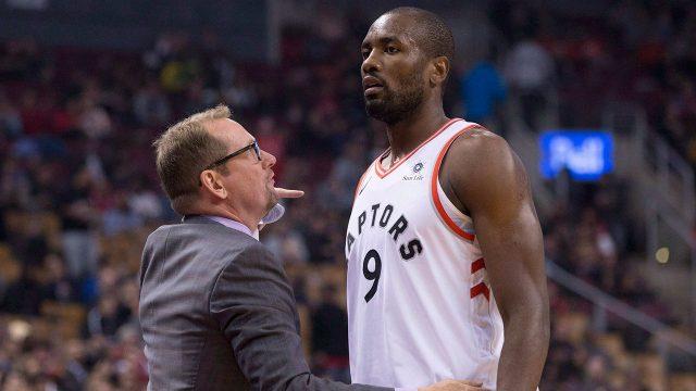 NBA-Raptors-Ibaka-talks-to-coach-Nurse