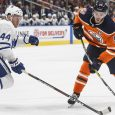 NHL-hockey-Oilers-McDavid-shoots-against-Maple-Leafs