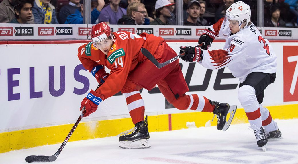 Team-Russia-star-Vitali-Kravtsov-controls-puck-at-2019-world-juniors