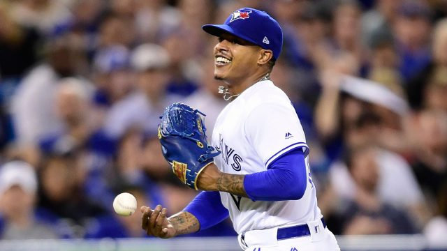 MLB-Blue-Jays-Stroman-celebrates-after-catching-line-drive
