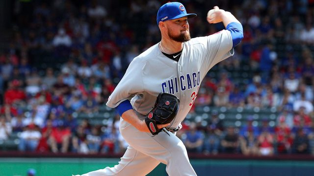 MLB-Cubs-Lester-delivers-pitch-against-Rangers