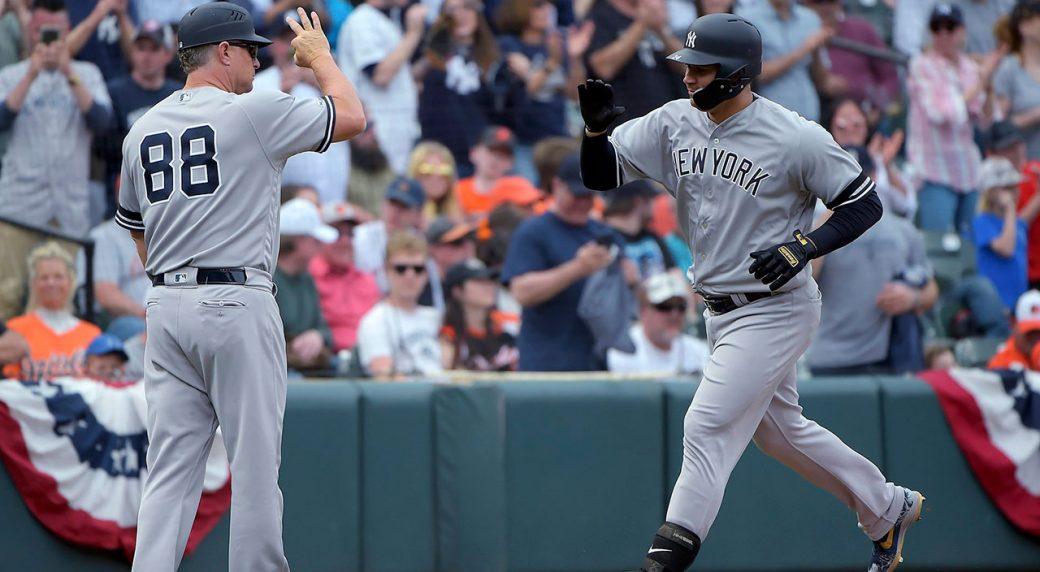 MLB-Yankees-Sanchez-celebrates-home-run