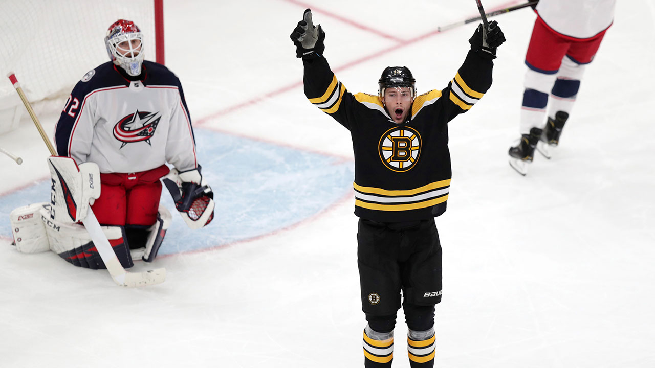 NHL-Bruins-Coyle-celebrates-goal-against-Blue-Jackets