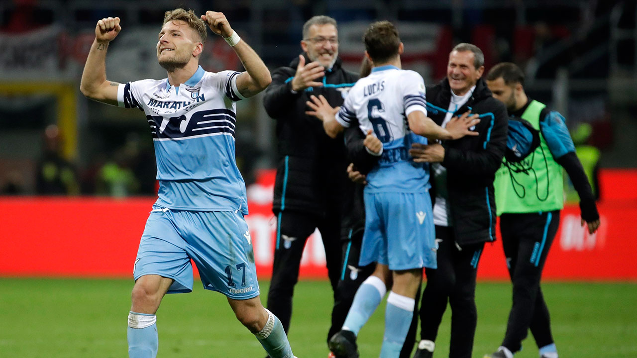 Soccer-Lazio-reacts-after-winning-Italian-Cup