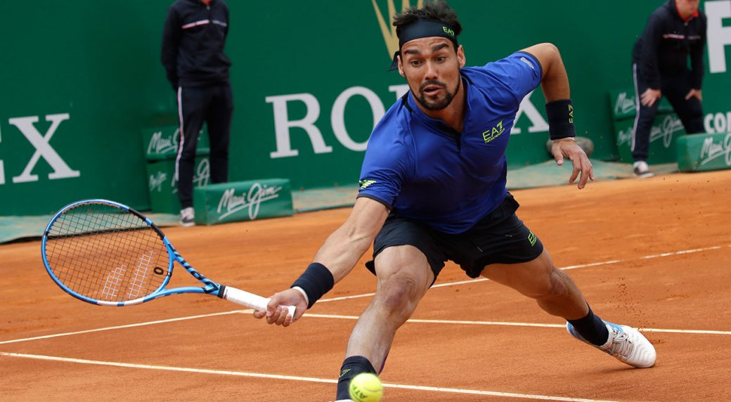Tennis-Fognini-returns-ball-at-Monte-Carlo-Masters