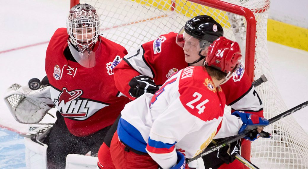 WHL-Walford-clears-puck-in-Canada-Russia-series