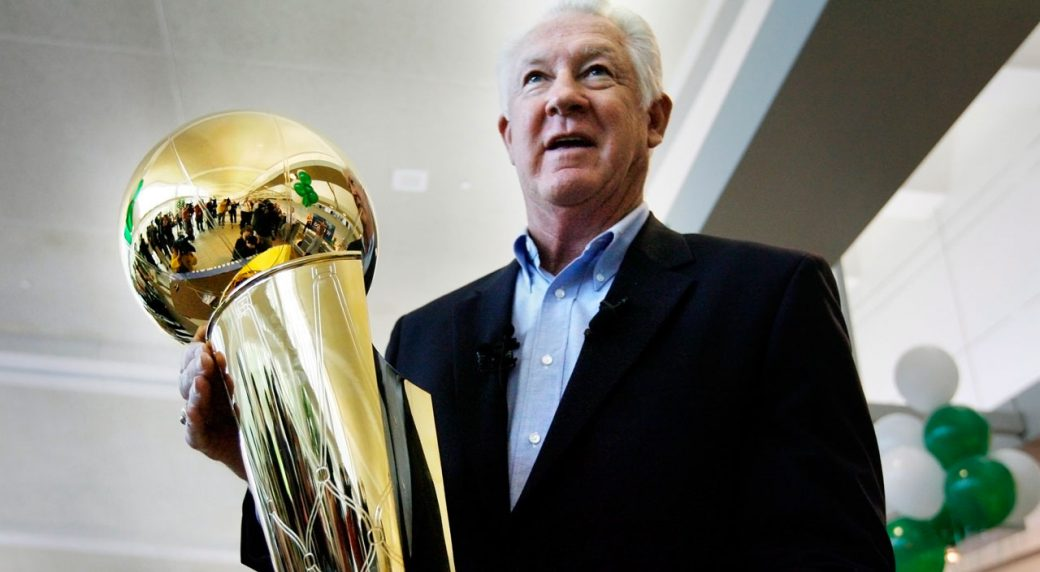 e6399c6a FILE - In this Wednesday, June 4, 2008 file photo, NBA legend John Havlicek  holds the Larry O'Brien NBA Championship Trophy at Manchester Boston  Regional ...