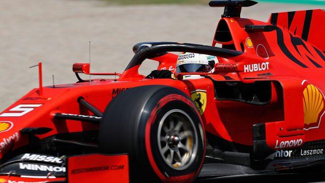 Auto-racing-Vettel-steers-Ferrari-during-qualifying-session