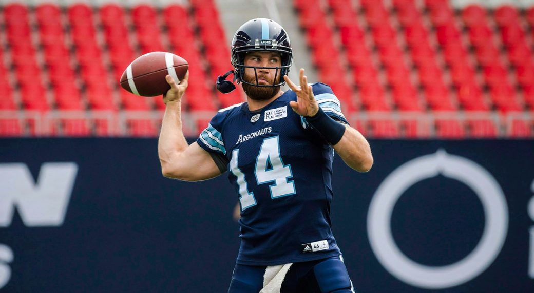 CFL-Argonauts-Bethel-Thompson-practices-throwing