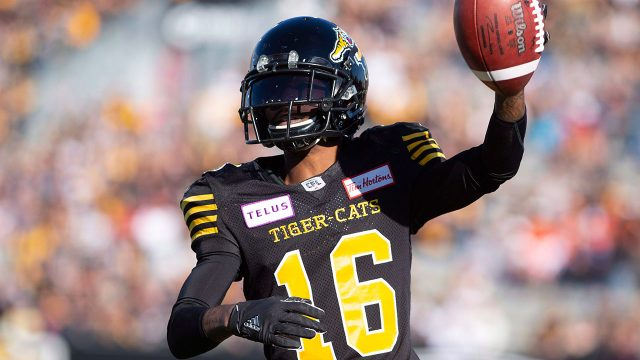 CFL-football-Tiger-Cats-Banks-celebrates-after-touchdown