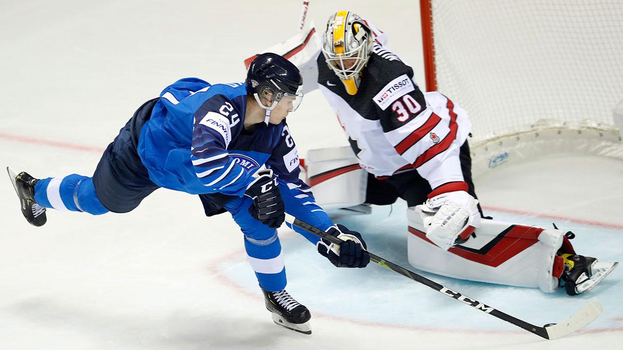 Finland-Kaapo-Kakko-scores-goal-on-Canada-matt-murray-at-iihf-world-championship