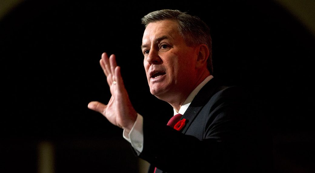 Former-MLSE-executive-Leiweke-gestures-during-a-speech