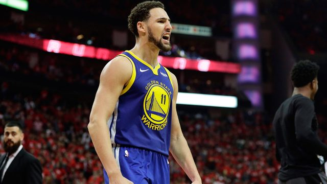 Golden-State-Warriors-guard-Klay-Thompson-celebrates-win