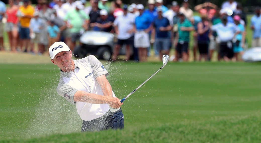 Golf-PGA-Hughes-hits-out-of-bunker