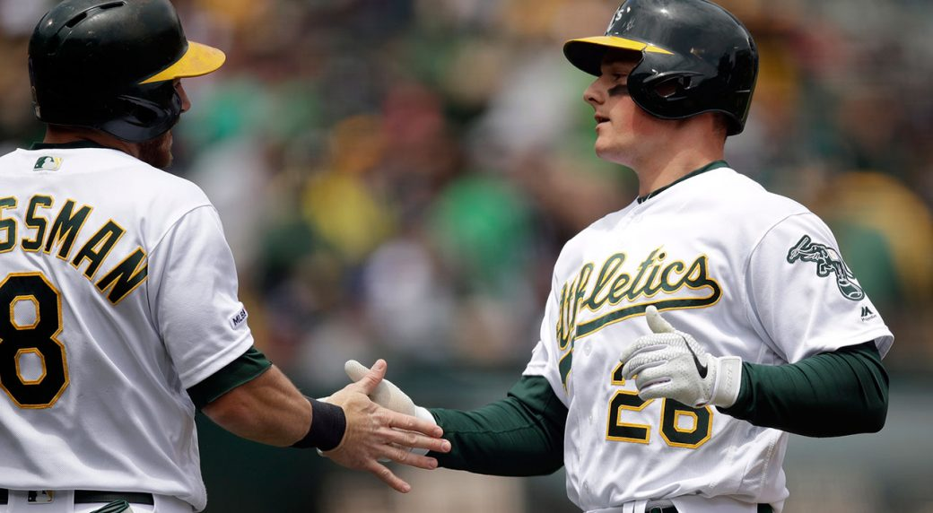 MLB-Athletics-Chapman-celebrates-home-run-against-Mariners