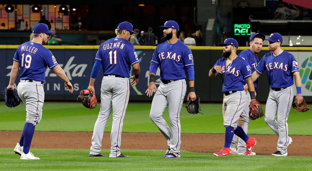 MLB-Rangers-players-celebrate-after-win