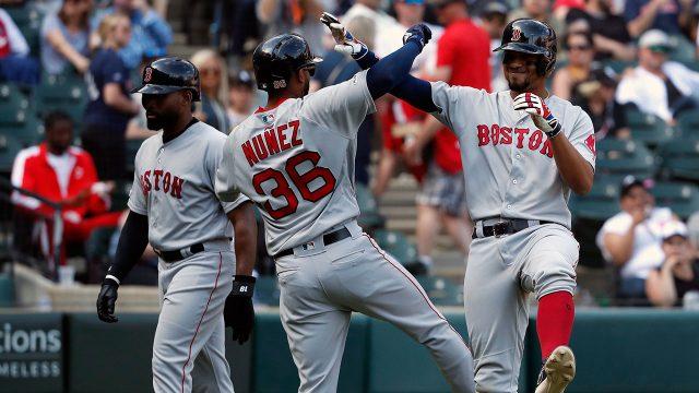 MLB-Red-Sox-Bogaerts-celebrates-grand-slam-against-White-Sox
