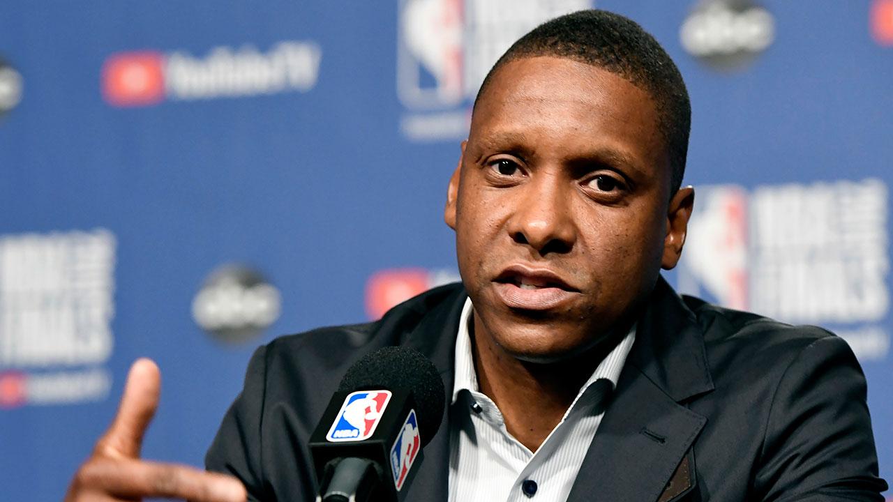 NBA-Raptors-Ujiri-speaks-during-Finals-media-day