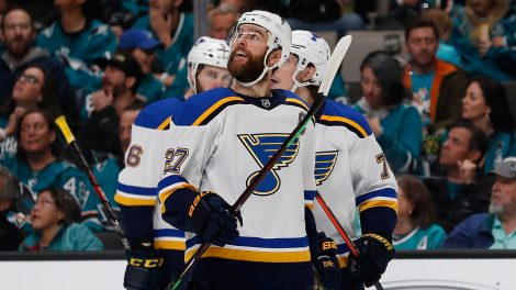 NHL-Blues-celebrate-after-goal-against-Sharks